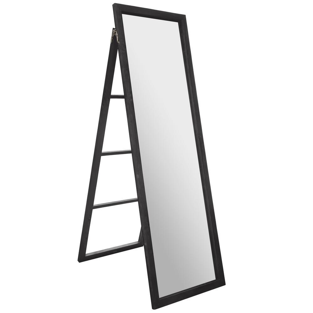 Classic Full Length Ladder with Easel Rectangular Black Floor Mirror