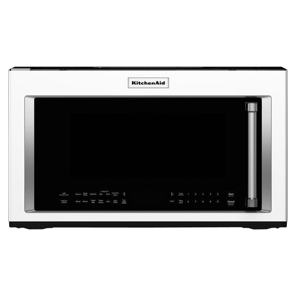 Kitchenaid 30 In W 1 9 Cu Ft Over The Range Convection Microwave White With Sensor Cooking Technology Kmhc319ewh Home Depot