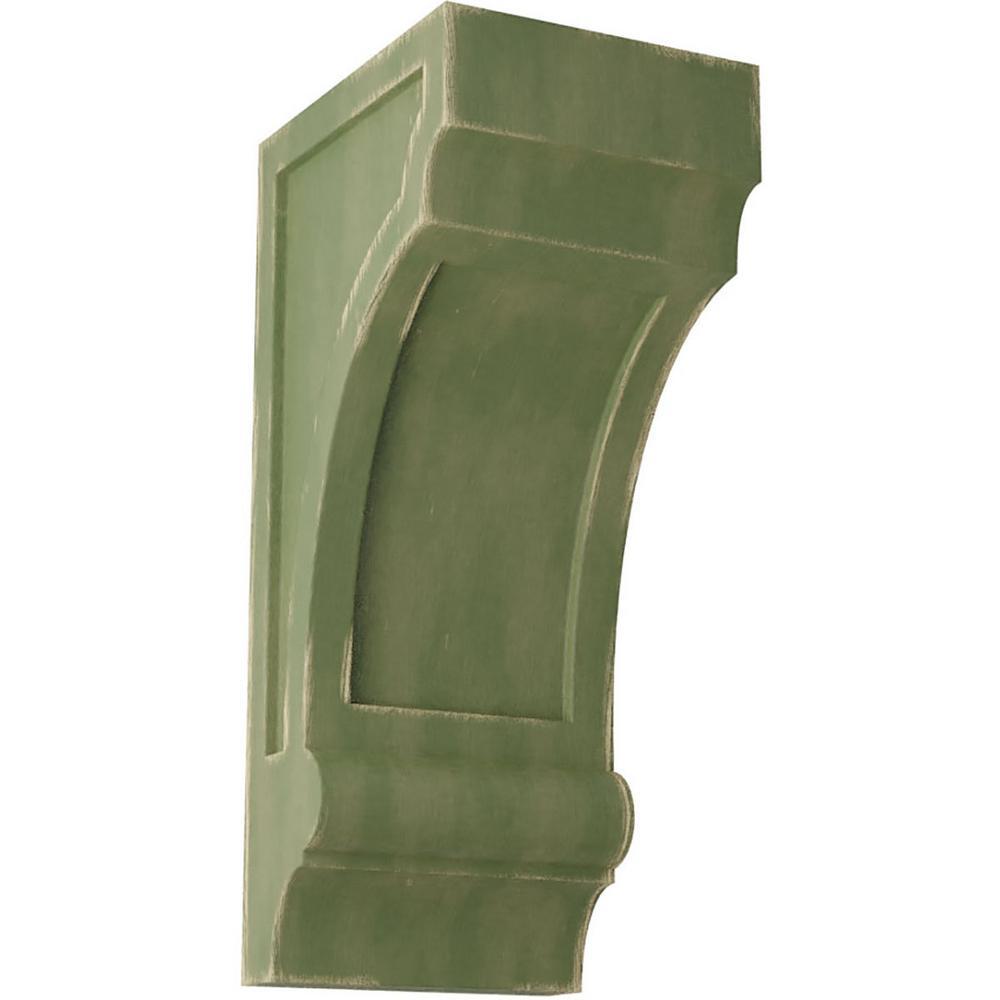 5-1/2 in. x 14 in. x 7 in. Restoration Green Diane Recessed Wood Vintage Decor Corbel