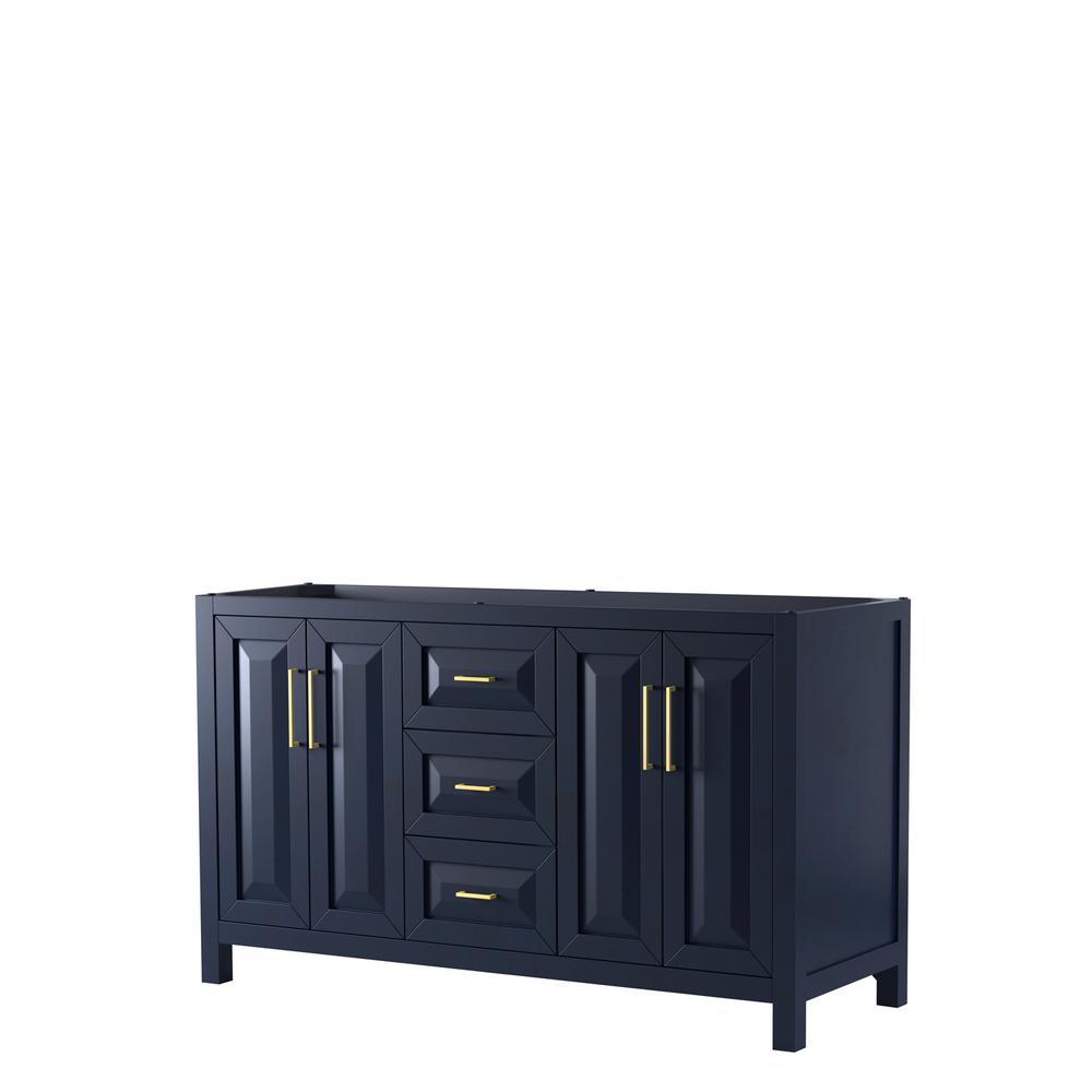 Daria 59 in. Double Bathroom Vanity Cabinet Only in Dark Blue