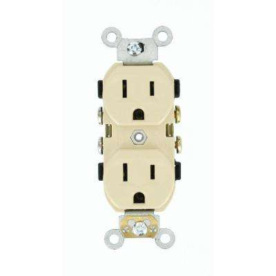 15 Amp 125-Volt Narrow Body Duplex Outlet Straight Blade Commercial Grade Self Grounding Side Wired, Ivory
