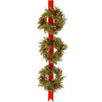 Decorative Collection Triple 77 in. Artificial Wreath Door Hang with Clear Lights