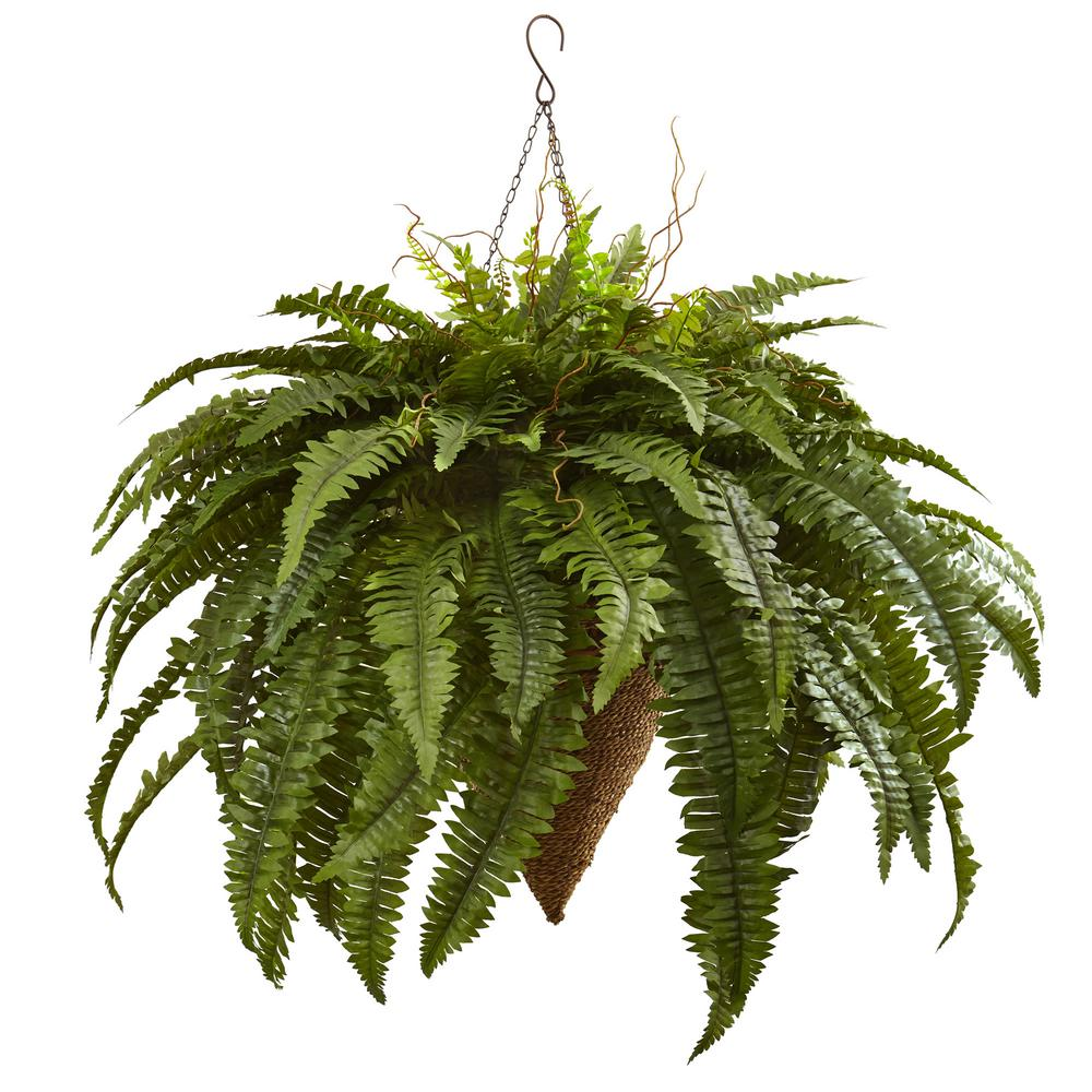 Nearly Natural Giant Boston Fern With Cone Hanging Basket 6872 The Home Depot