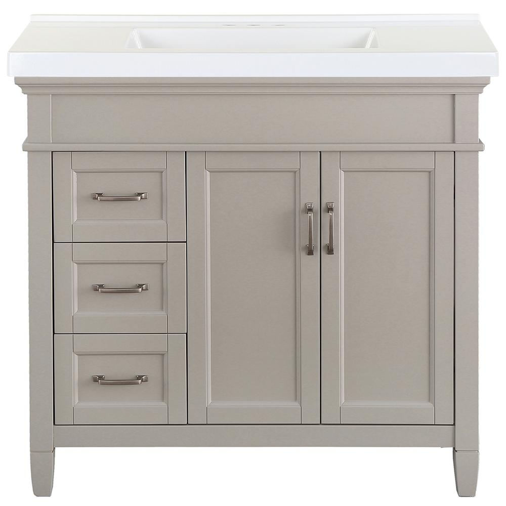 Home Decorators Collection Ashburn 37 in. W x 22 in. D Bath Vanity in Grey with Cultured Marble Vanity Top in White with White Sink was $828.0 now $496.8 (40.0% off)