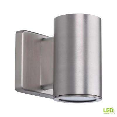 Cylinders Collection 1-Light Satin Nickel Integrated LED 5.6 in. Outdoor Wall Mount Cylinder Light