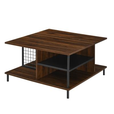 30 in. Dark Walnut Metal and Wood Square Coffee Table