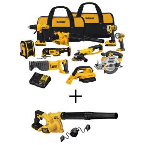 20-Volt Max Cordless Combo Kit (10-Tool) with (2) 20-Volt 2.0Ah Batteries, Charger & Cordless Jobsite Blower