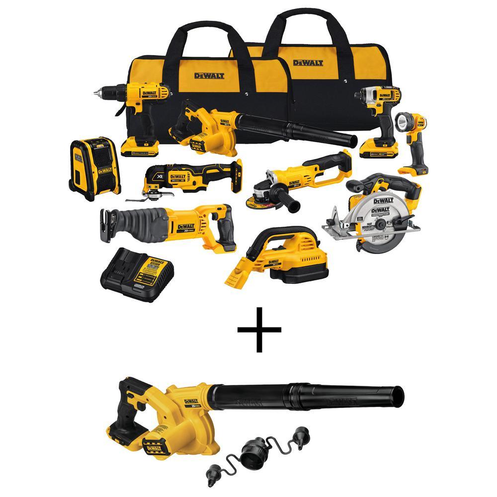DEWALT 20-Volt Max Cordless Combo Kit (10-Tool) w/ (2) 20-Volt 2.0Ah Batteries, Charger & Cordless Jobsite Blower