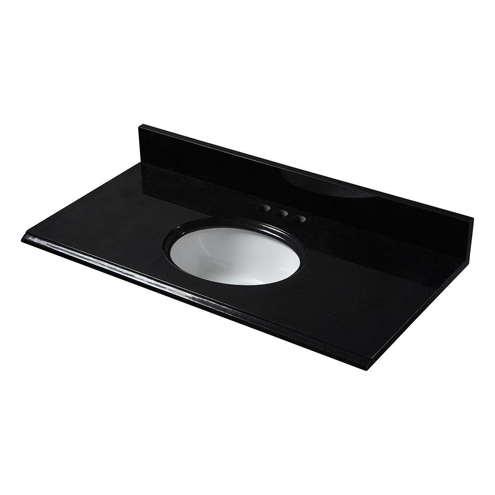 31 in. x 19 in. Granite Vanity Top in Black with White Bowl