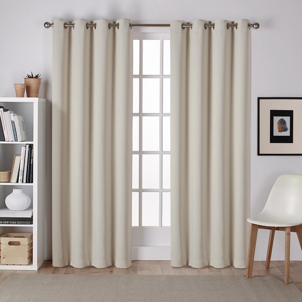 Sateen 52 in. W x 84 in. L Woven Blackout Grommet Top Curtain Panel in Linen (2 Panels)