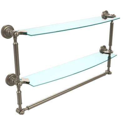 Dottingham 24 in. L  x 15 in. H  x 5 in. W 2-Tier Clear Glass Bathroom Shelf with Towel Bar in Antique Pewter
