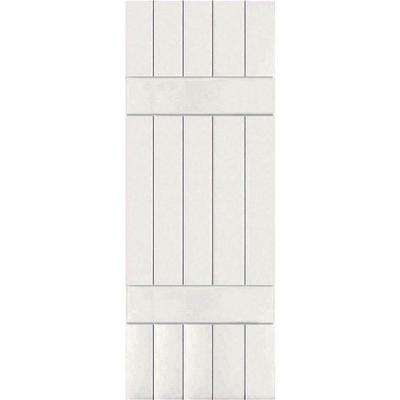18 in. x 57 in. Exterior Real Wood Pine Board and Batten Shutters Pair White