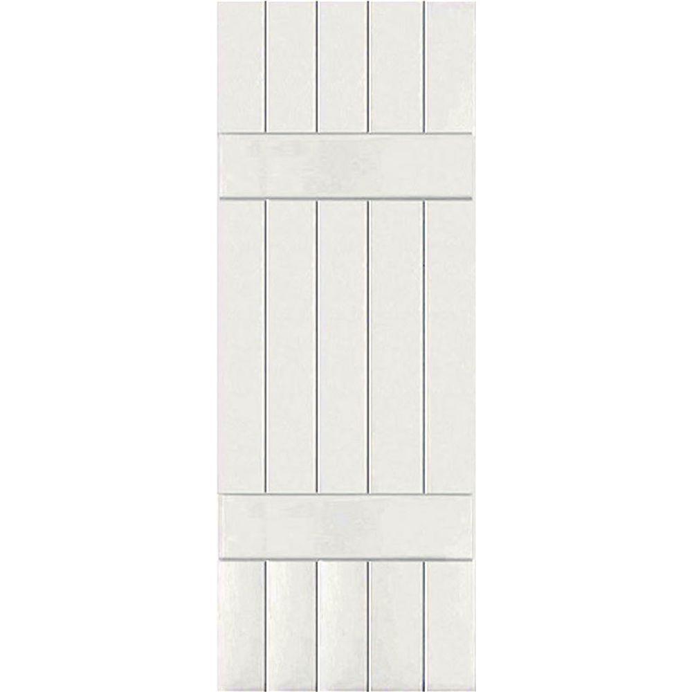 Ekena Millwork 18 in. x 60 in. Exterior Real Wood Pine Board & Batten Shutters Pair White