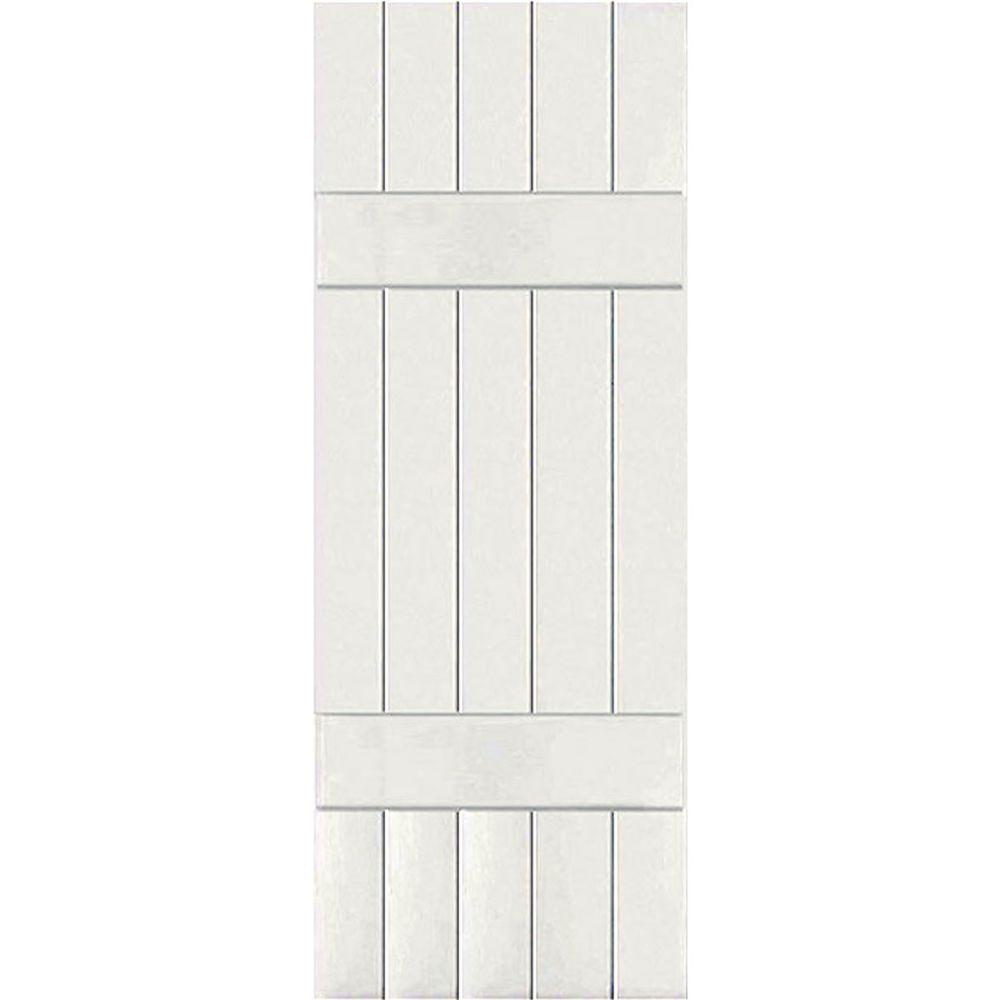 Ekena Millwork 18 in. x 79 in. Exterior Real Wood Sapele Mahogany Board and Batten Shutters Pair White