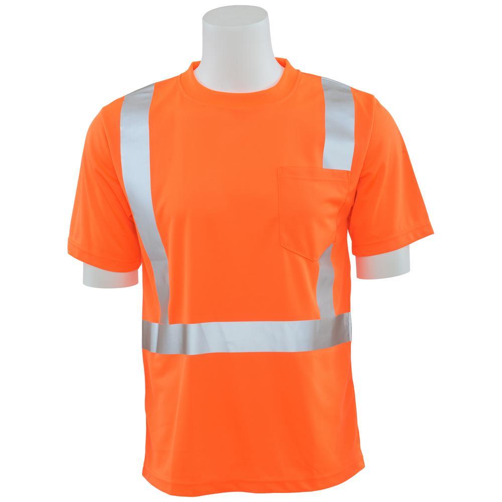 9006S 5X Class 2 Short Sleeve Hi Viz Orange Unisex Birdseye Mesh T-Shirt