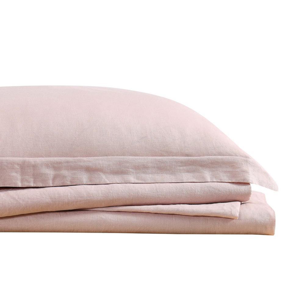 Flax Linen 4-Piece Blush Solid 300 Thread Count Queen Sheet Set