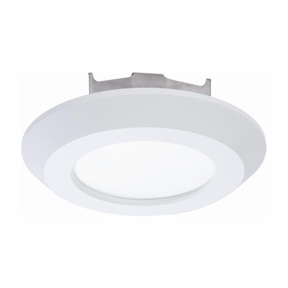 timeless design 3f932 eaf59 Halo 4 in. 3000K Matte White Integrated LED Recessed Surface Disk Trim with  80 CRI