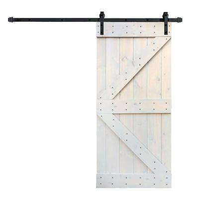 36 in. x 84 in. K Series DIY Light Grey Finished Knotty Pine Wood Barn Door with 6.6 ft. Sliding Door Track Hardware Kit
