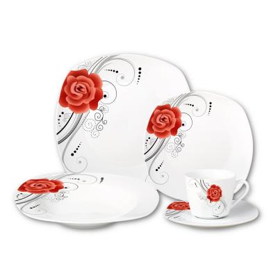 Porcelain 20-Piece Square Dinnerware Set Service for 4-Red Flower