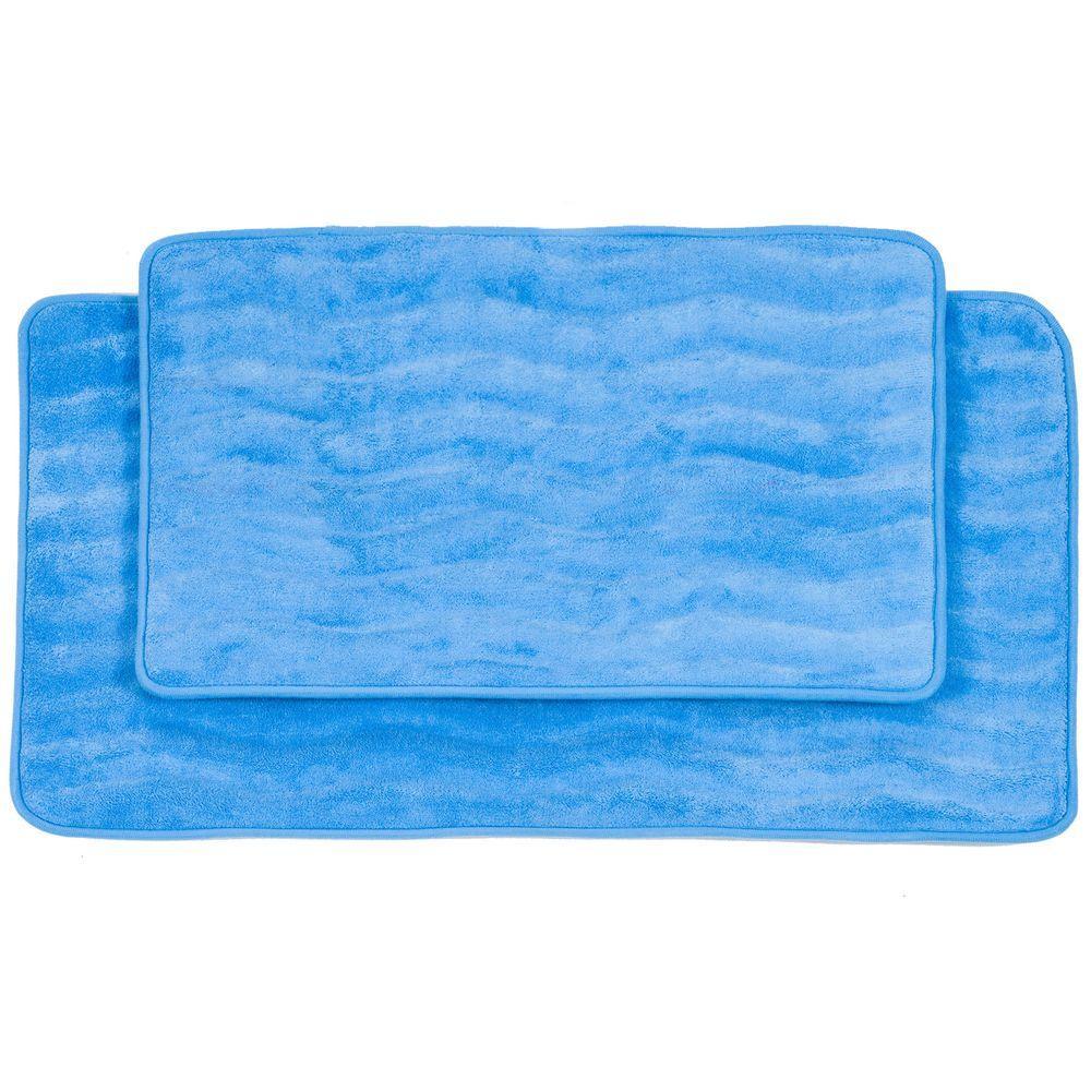 2-Piece Blue Memory Foam Bath Mat Set