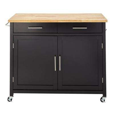Glenville Black Kitchen Cart