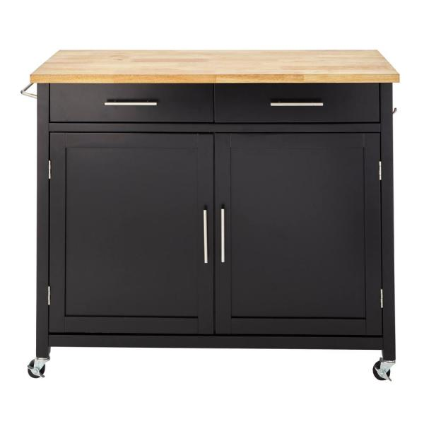 Stylewell Glenville Black Rolling Kitchen Cart With Butcher