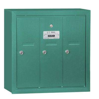 Green Surface-Mounted USPS Access Vertical Mailbox with 3 Door