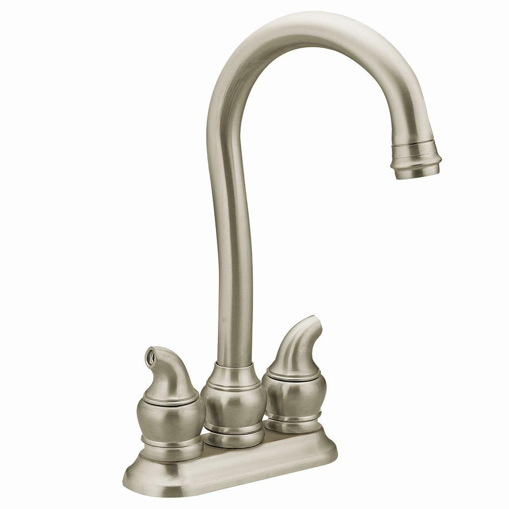 MOEN Monticello 2-Handle Bar Faucet in Stainless Steel-DISCONTINUED
