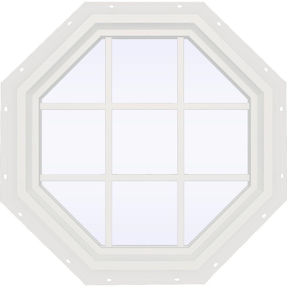 JELD-WEN 35.5 in. x 35.5 in. V-4500 Series Fixed Octagon Vinyl Window with Grids - White