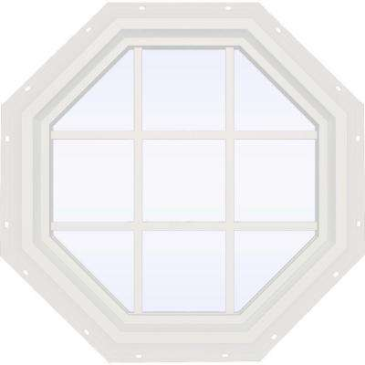 35.5 in. x 35.5 in. V-4500 Series White Vinyl Fixed Octagon Geometric Window with Colonial Grids/Grilles