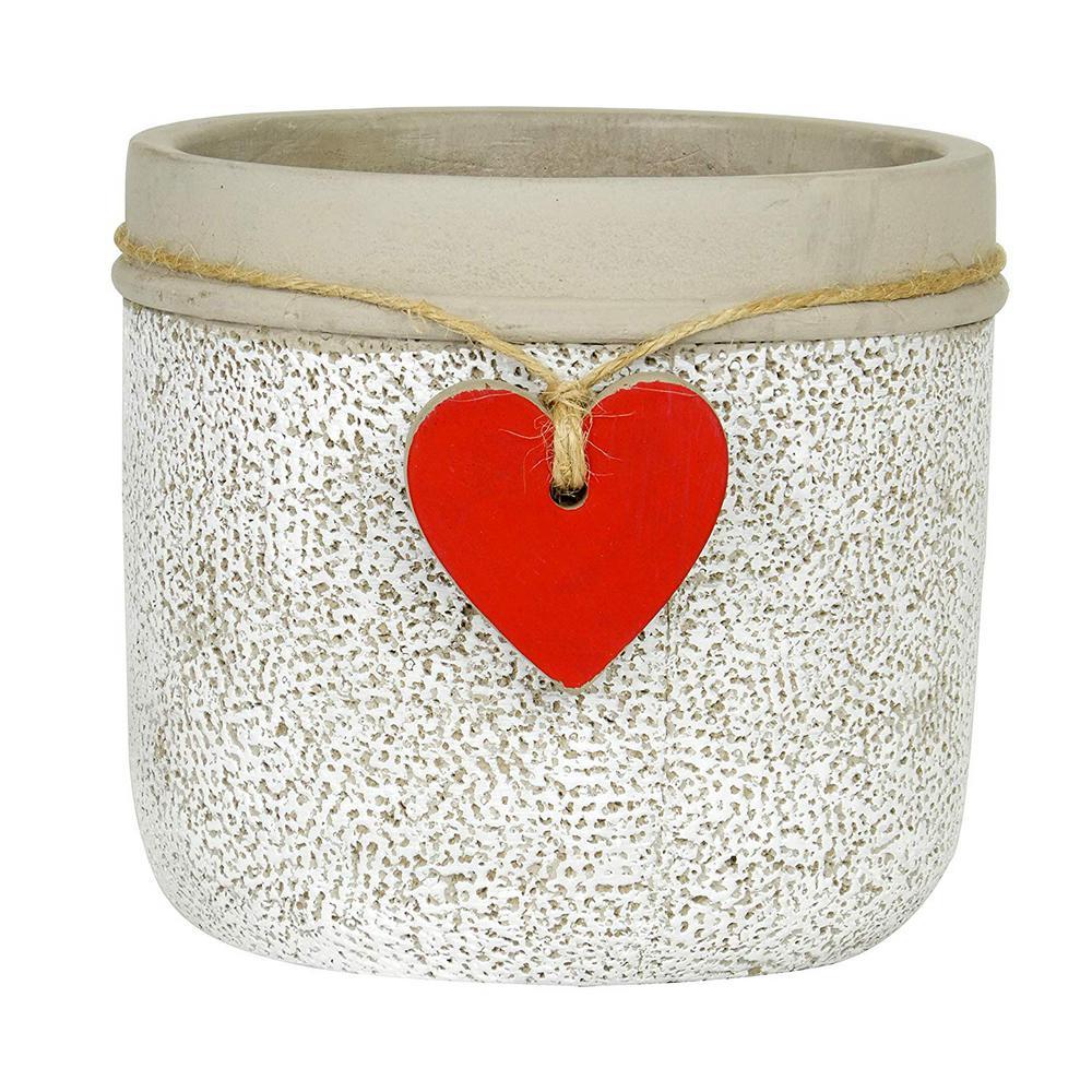 Heart Large Whitewash Cement Pot Planter