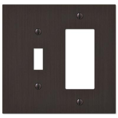 Barnard 2 Gang 1-Toggle and 1-Rocker Metal Wall Plate - Aged Bronze