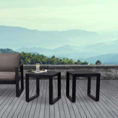 Baltic Black Square Powder Coated Aluminum Outdoor Side Table (Set of 2)