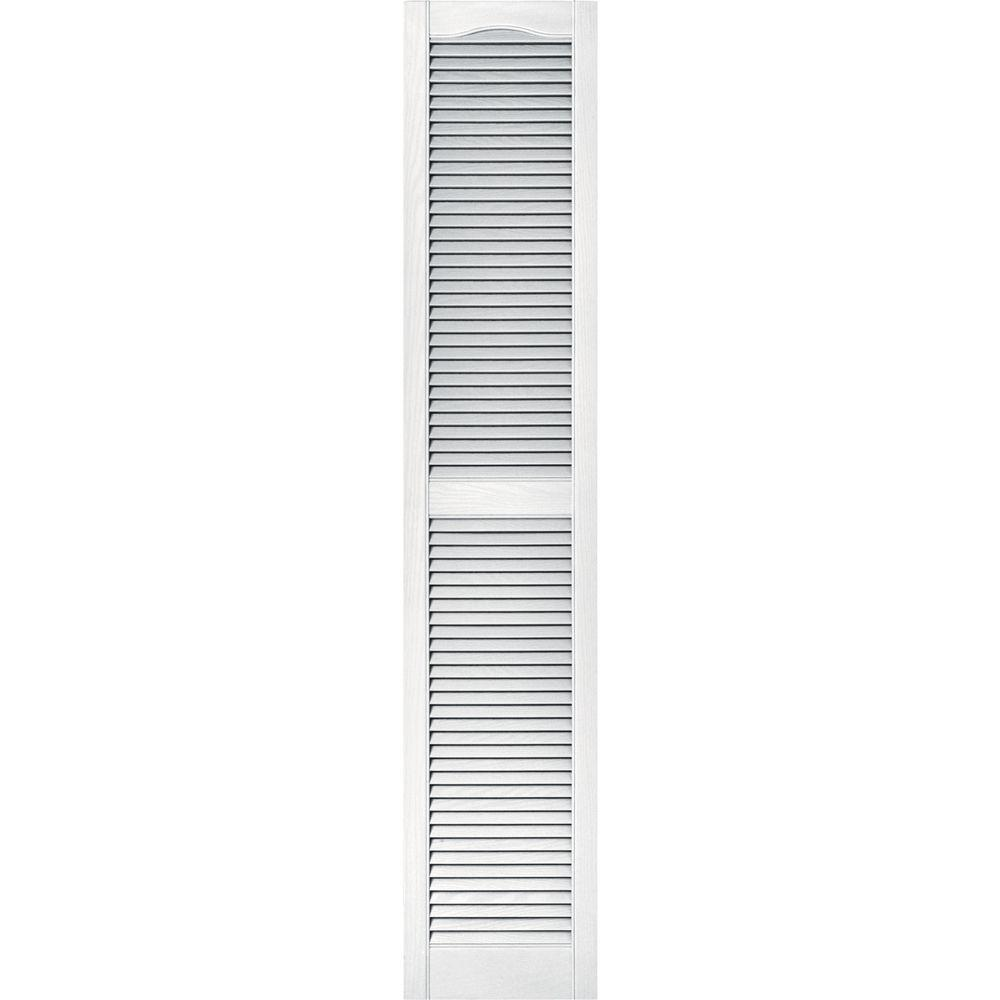 15 in. x 75 in. Louvered Vinyl Exterior Shutters Pair #001
