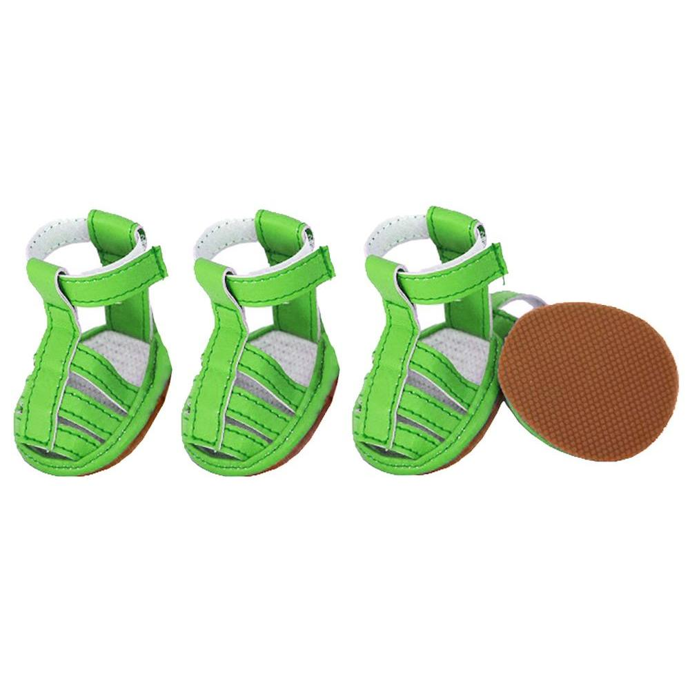 Medium Neon Green Buckle-Supportive PVC Waterproof Dog Sandals Shoes (Set of