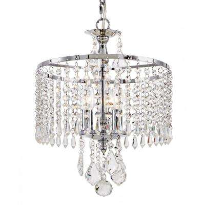3-Light Polished Chrome Mini-Chandelier with K9 Crystal Dangles