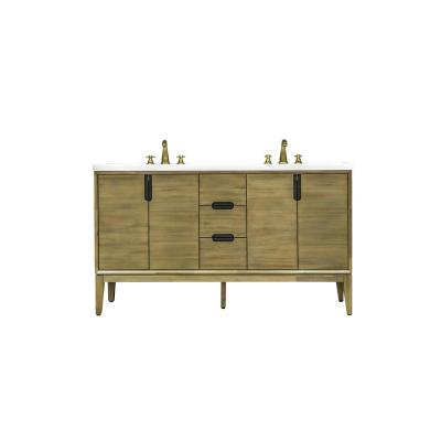 Sidwell 61 in. W x 22 in. D x 34 in. H Vanity in Solid Acacia Wood with Cultured Marble top with White sink