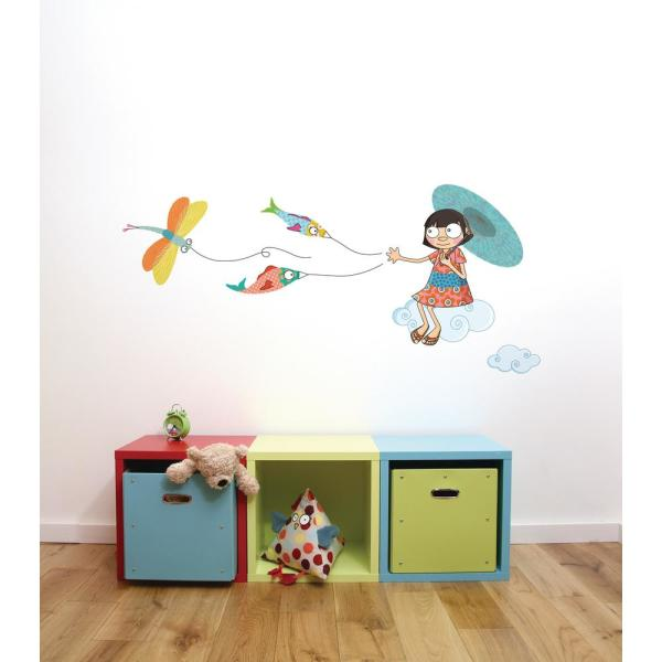 Adzif (76.6 in x 34.7 in) Multi-Color ''Over The Clouds'' Kids
