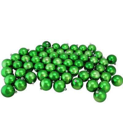 shiny xmas green shatterproof christmas ball ornaments 60 count - Christmas Ball Decorations