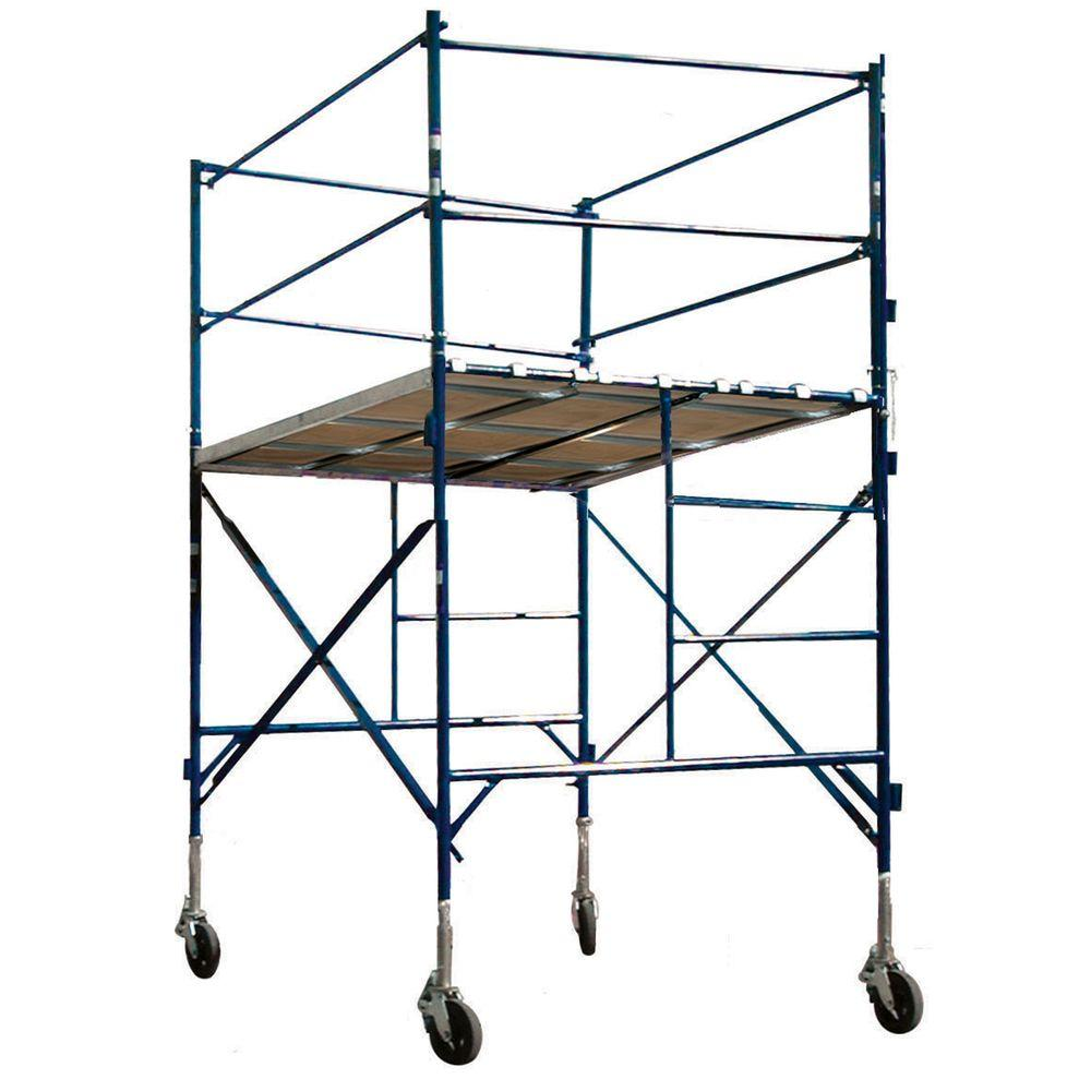 PRO-SERIES 1-Story Tower with Guardrails and Casters, Wooden-Aluminum Walkboards, 2,000 lb. Load Capacity