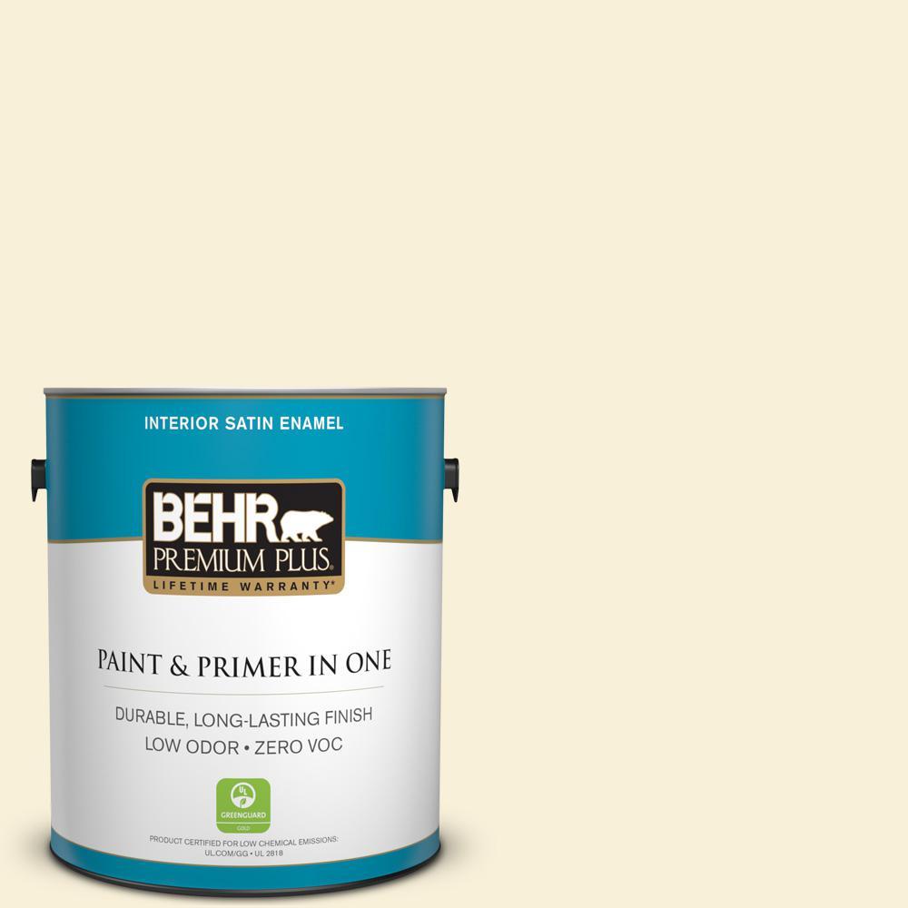 1-gal. #390C-1 Capri Cream Zero VOC Satin Enamel Interior Paint