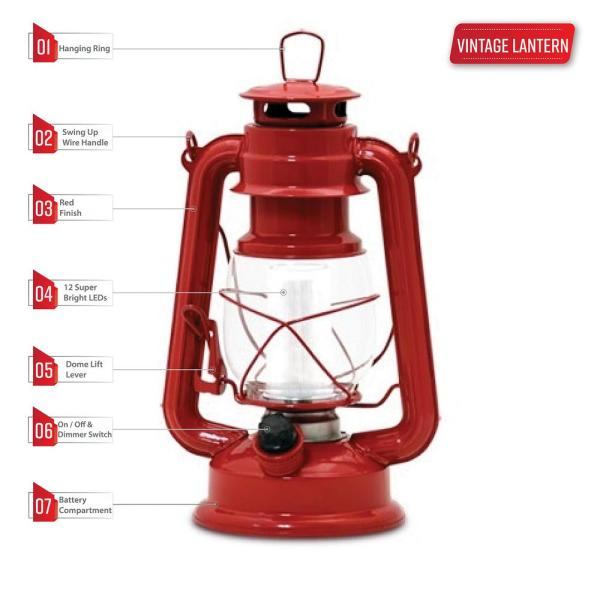 Northpoint Vintage Red Battery Operated Led Lantern 2 Pack 190492 2 The Home Depot