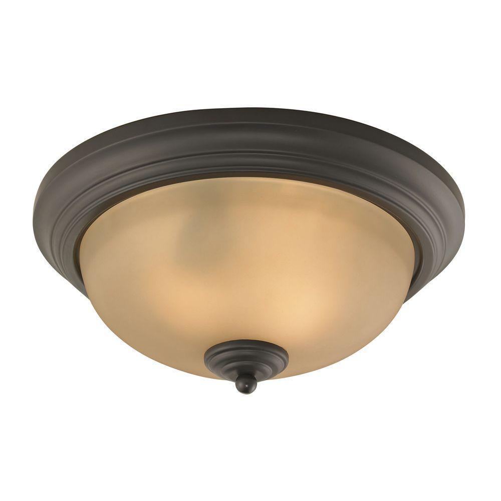 Titan Lighting Huntington 3-Light Oil-Rubbed Bronze Ceiling Flushmount