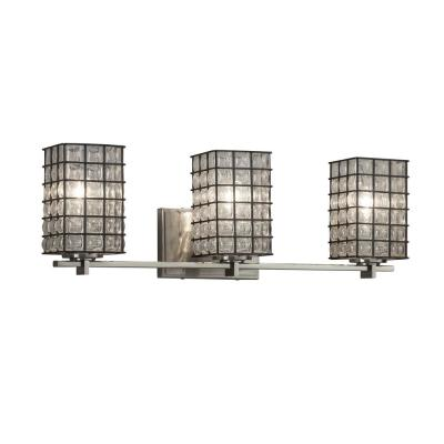 Wire Glass Era 3-Light Brushed Nickel Bath Light with Grid with Clear Bubbles Shade