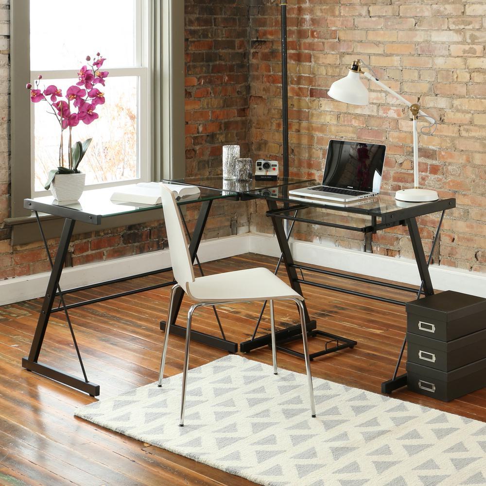 Black Desk L Shape Gl Computer Corner Home Office Table Work
