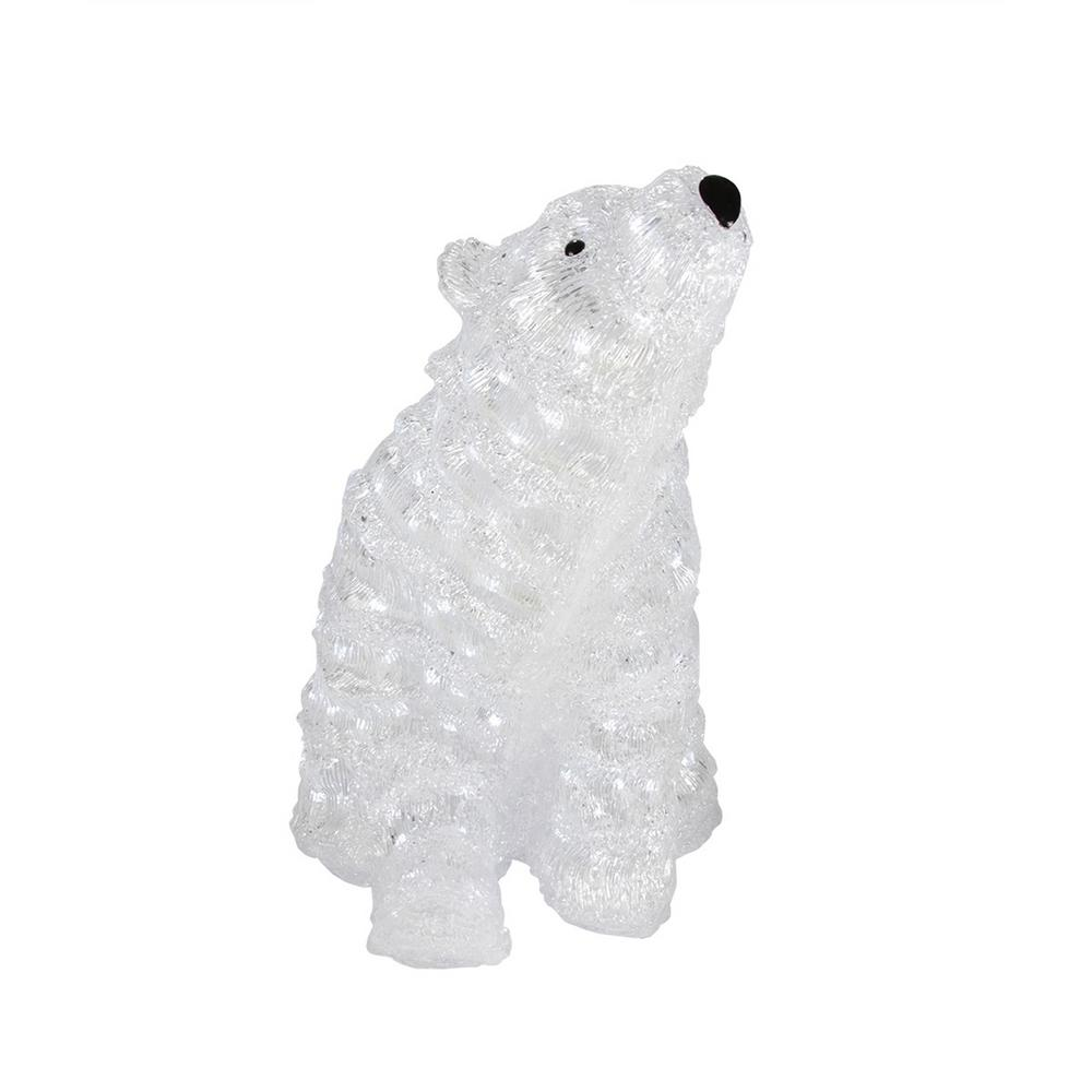 18 in. Lit Commercial Grade Acrylic Polar Bear Christmas Display Decoration