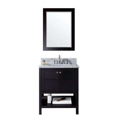 Winterfell 30 in. W Bath Vanity in Espresso with Marble Vanity Top in White with Square Basin and Mirror