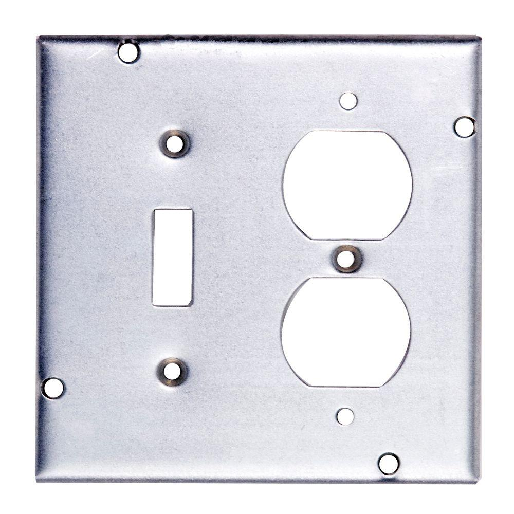 4-11/16 in. Steel Square Box Surface Cover for 1 Toggle Switch