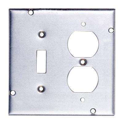 4-11/16 in. Steel Square Box Surface Cover for 1 Toggle Switch and 1 Duplex Receptacle (Case of 10)