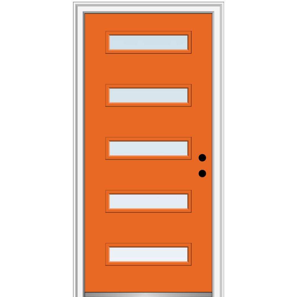 MMI Door 36 in. x 80 in. Davina Low-E Glass Left-Hand Inswing 5-Lite Clear Painted Steel Prehung Front Door